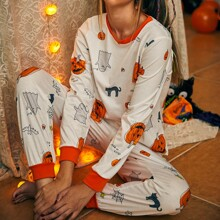 Halloween Pattern Contrast Binding PJ Set
