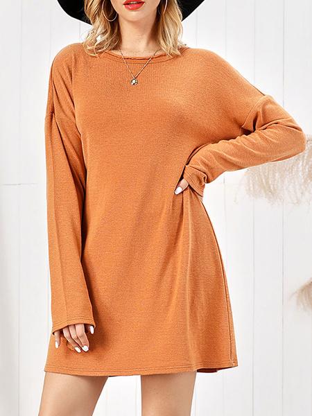 Milanoo Vestidos rectos Vestido de tubo de mujer de nylon con cuello de joya naranja encantador