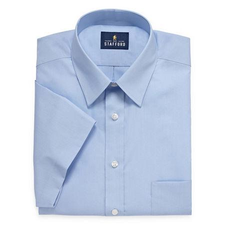 Stafford Mens Short Sleeve Travel Easy-Care Broadcloth Stretch Dress Shirt, 17.5 , Blue