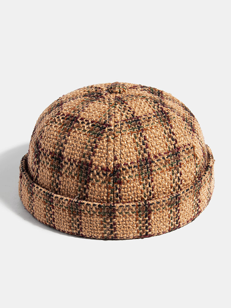 Collrown Men & Women Casual Personality Plaid Pattern Brimless Beanie Skull Hat Landlord Hat