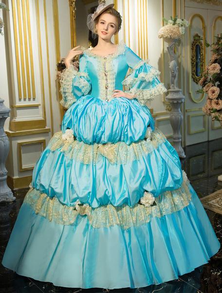 Milanoo Victorian Dress Costume Blue Retro Costume Rococo Tiered Bell Sleeves Princess Victorian era Clothing Retro Costumes Dress Halloween