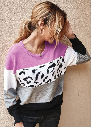 Trendy Leopard Long Sleeve Contrast Panel Sweater - M