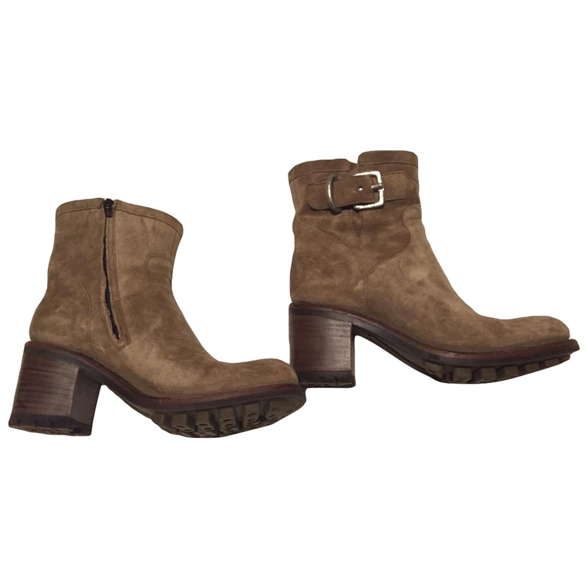 Free Lance - Boots   pour femme en velours - beige