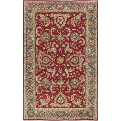 AWHY2062-58 5' x 8' Rug  in Bright Red and Charcoal and Mustard and Dark Brown and Olive and Tan and Ivory and