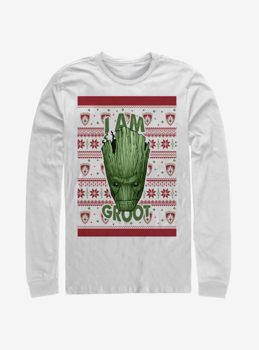Marvel Guardians Of The Galaxy Groot Christmas Pattern Long-Sleeve T-Shirt