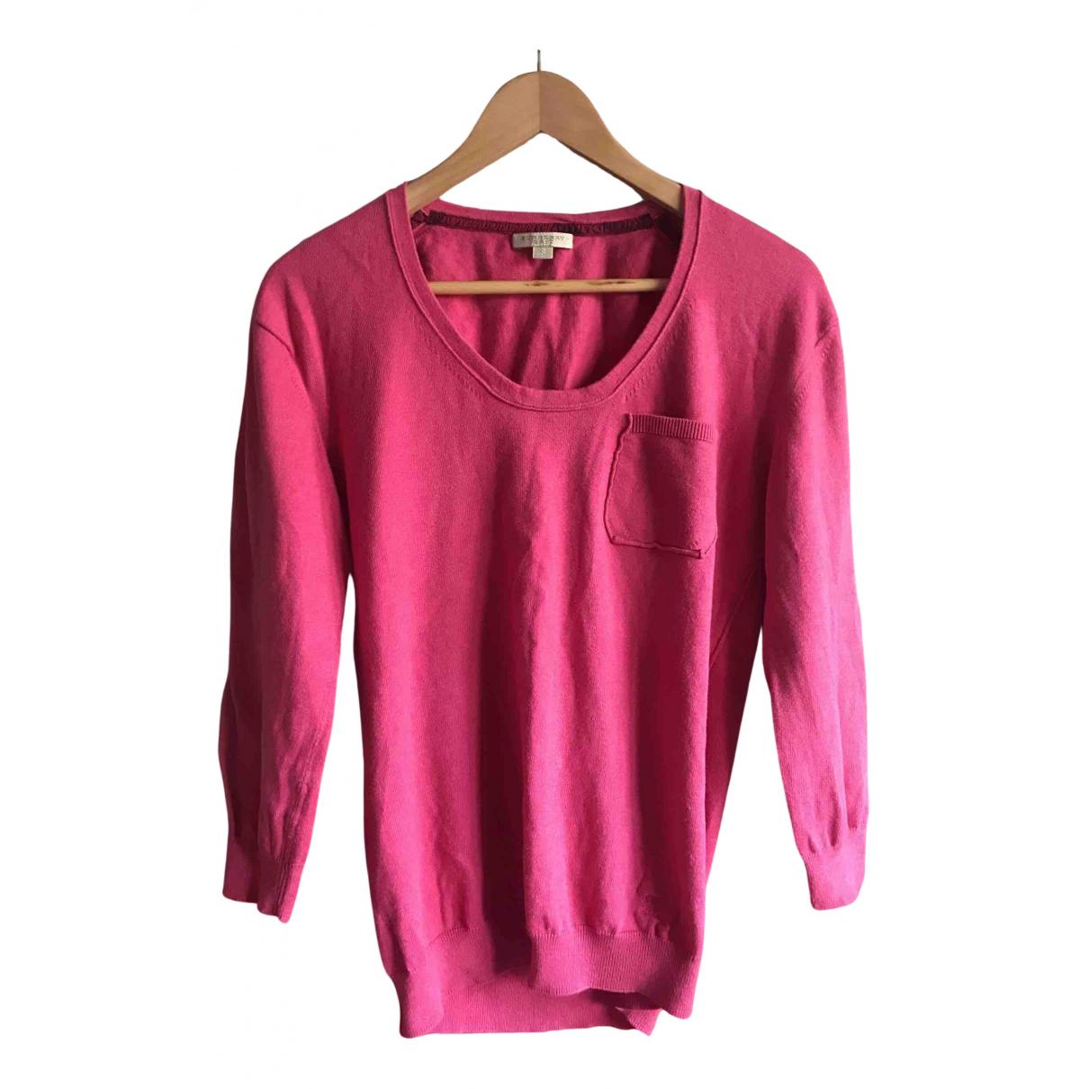 Burberry - Pull   pour femme en coton - rose