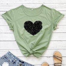 Camiseta de cuello redondo con estampado de corazon