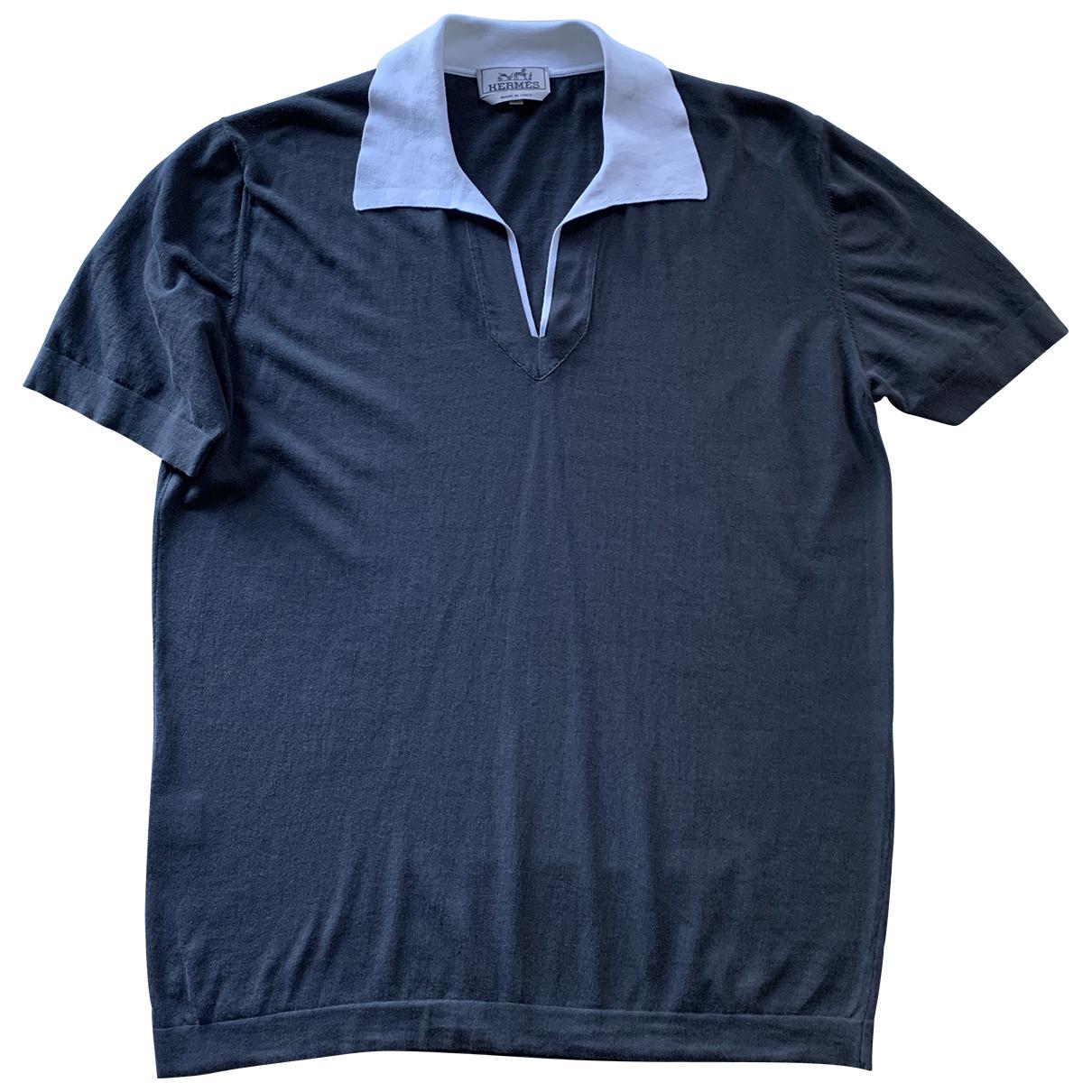Hermes - Polos   pour homme en coton - bleu
