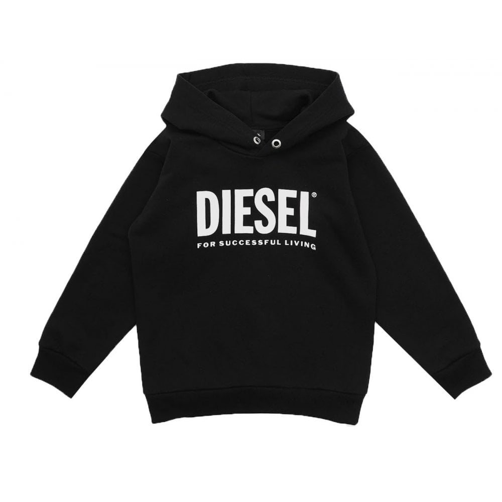 Diesel Sdivision Logo Hoodie Colour: BLACK, Size: 16 YEARS