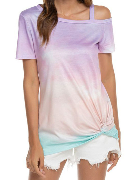 Milanoo Short Sleeves Tees Ombre Asymmetrical Open Shoulder Knotted T Shirt For Women