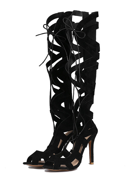 Milanoo Black Gladiator Sandals Suede Peep Toe Lace Up High Heel Sandal Shoes For Women