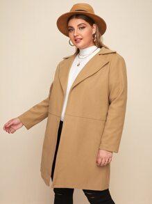 Plus Open Front Lapel Collar Coat