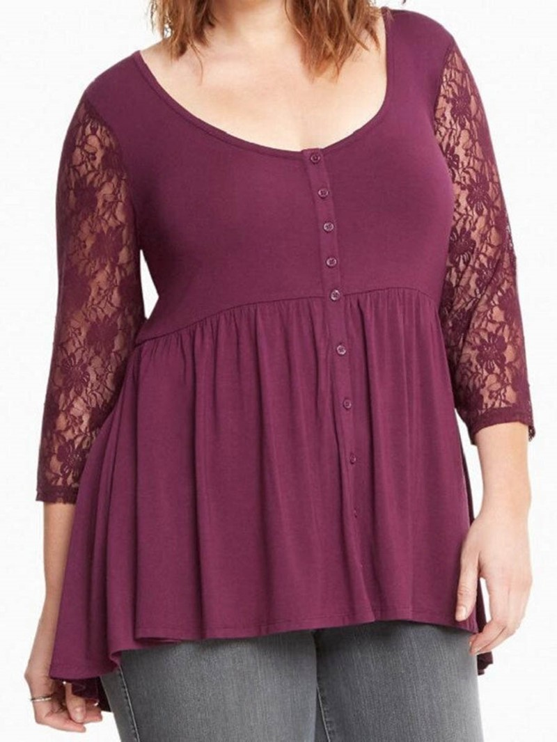 Ericdress Round Neck Button Plus Size Loose T-Shirt