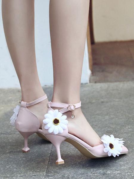 Milanoo Sweet Lolita Footwear Pink Daisy Flowers PU Leather Goblet Heel Lolita Shoes