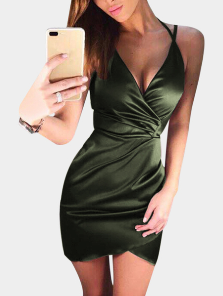 Yoins Army Green V-neck Crossed Front Mini Wrap Dress