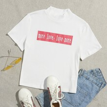 Mock-neck Letter Graphic Rib-knit Tee