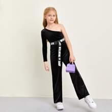 Girls One Shoulder Letter Tape Belted Velvet Jumpsuit