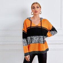 Drawstring Detail Drop Shoulder Colorblock  Hooded Sweater