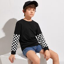 Boys Checked Sleeve Pullover