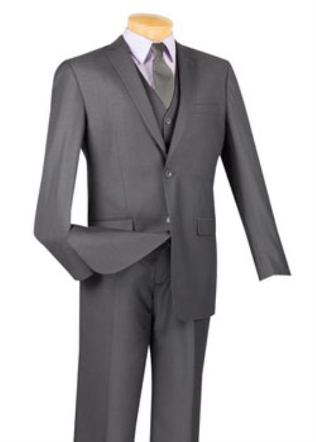 Men's Heather Grey 3 Piece 1 Wool Executive Suit - Narrow Leg Pants