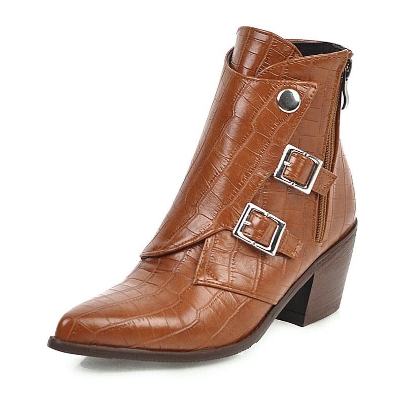 Ericdress Chunky Heel Plain Side Zipper Women's Ankle Boots