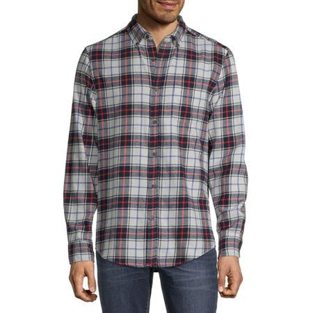 St. John's Bay Super Soft Mens Long Sleeve Flannel Shirt, Large , White