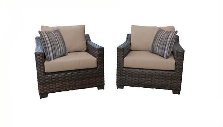 RIVER-02b-WHEAT Kathy Ireland Homes and Gardens River Brook 2-Piece Wicker Patio Set 02b - 1 Set of Truffle and 1 Set of Toffee