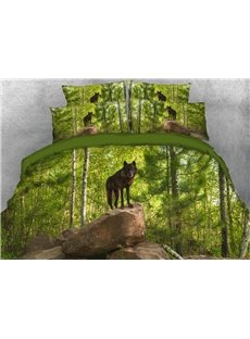 Vivilinen Wolf Standing on the Stone at Jungle Printed 4-Piece 3D Bedding Sets/Duvet Covers