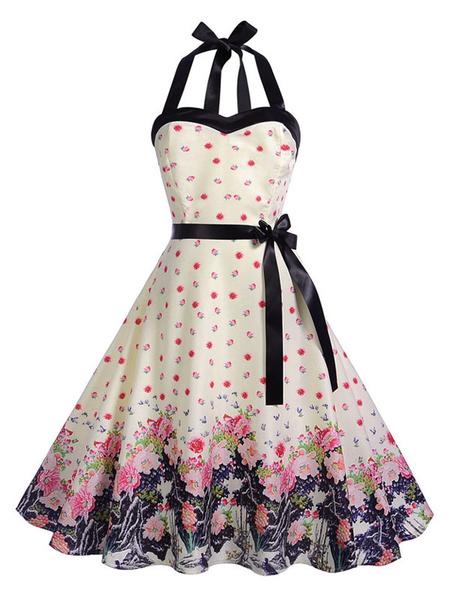 Milanoo Floral Vintage Dress 1950s Pin Up Rockabilly Halter Sleeveless Bow Sash Retro Swing Dress