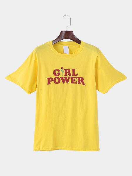 Yoins Yellow Crew Neck Letter Print T-shirt