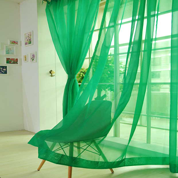 Cost-Effective Pure Colored Jade Green Custom Sheer Curtain