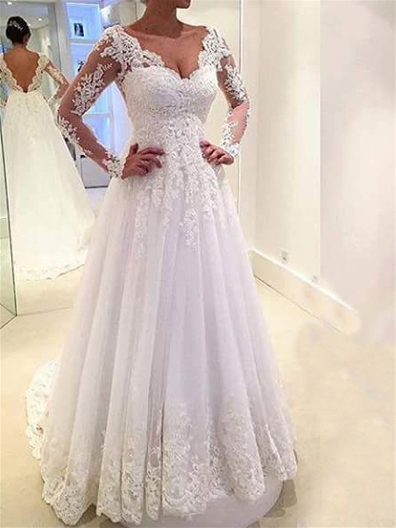 Ericdress Low Back Appliques Long Sleeves Wedding Dress