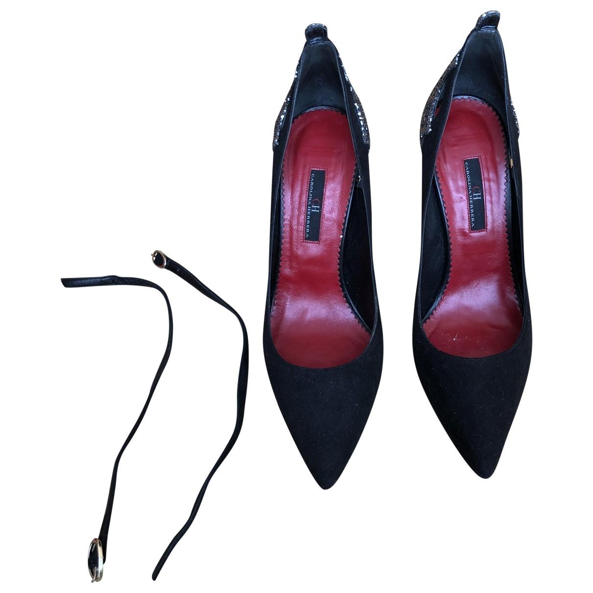 Carolina Herrera \N Black Suede Heels for Women 38 EU