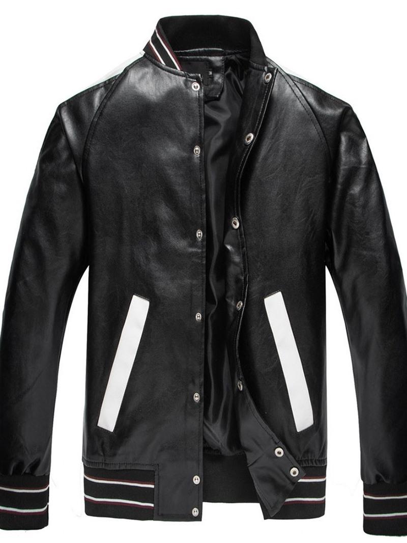 Ericdress Standard Color Block Stand Collar European Slim Leather Jacket