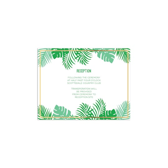 20 Pack of Martha Stewart Personalized Lily Pond Tropical Flat Foil Wedding All Purpose Card in Kelly Green | 4.25