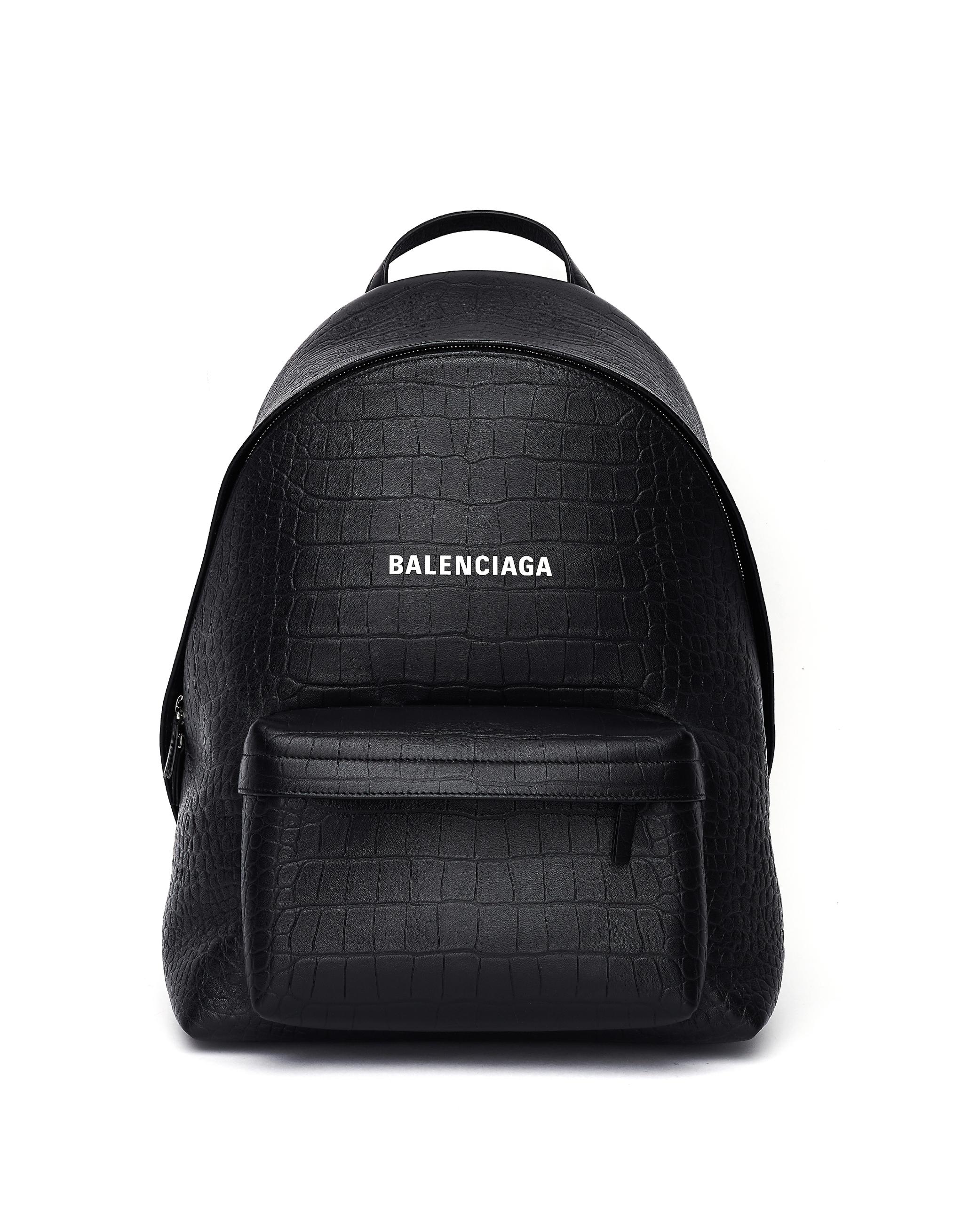 Balenciaga Black Leather Logo Printed Backpack