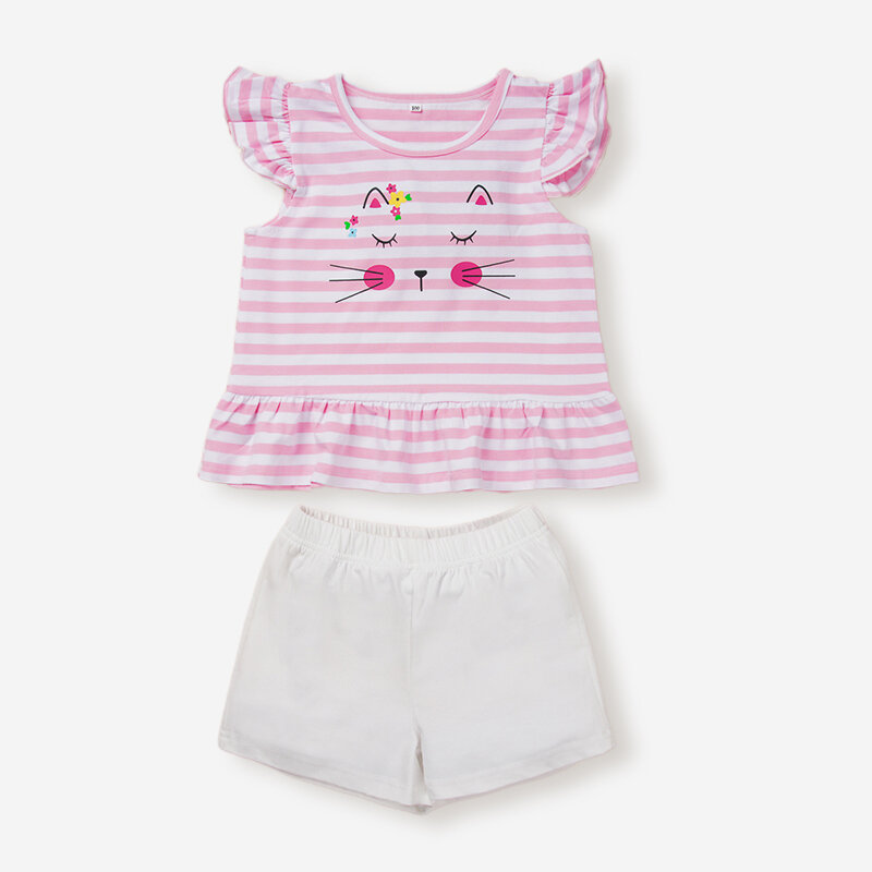 Girl's Flying Sleeves Cute Cat Striped Print Casual Clothing Set For 1-5Y