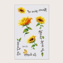 1 Blatt Tattoo Aufkleber mit Sonnenblumen Muster