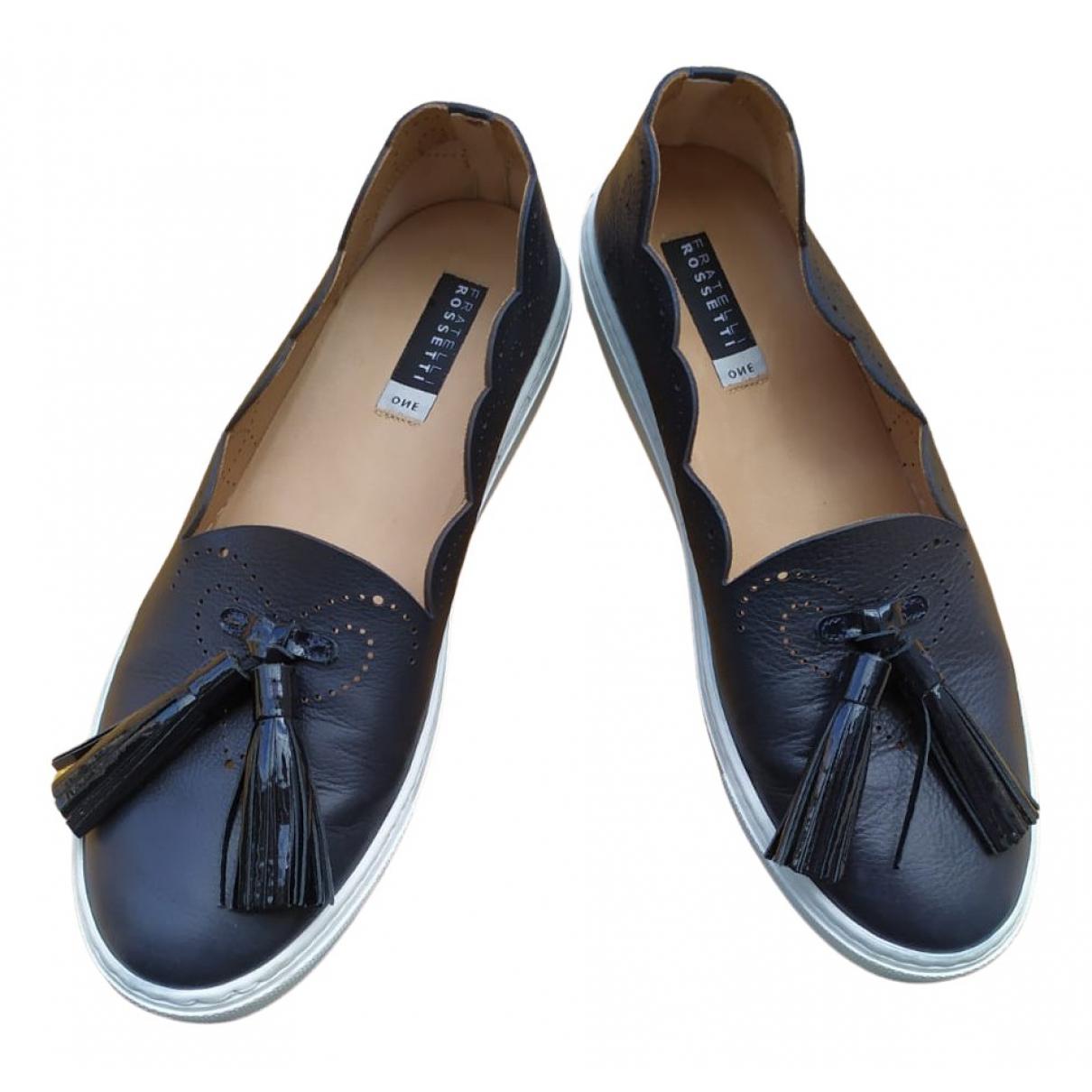 Fratelli Rossetti N Blue Leather Flats for Women 38 EU