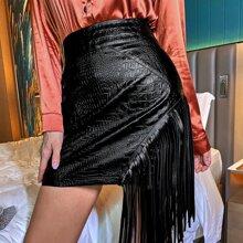 Fringe Detail Zipper Back PU Skirt