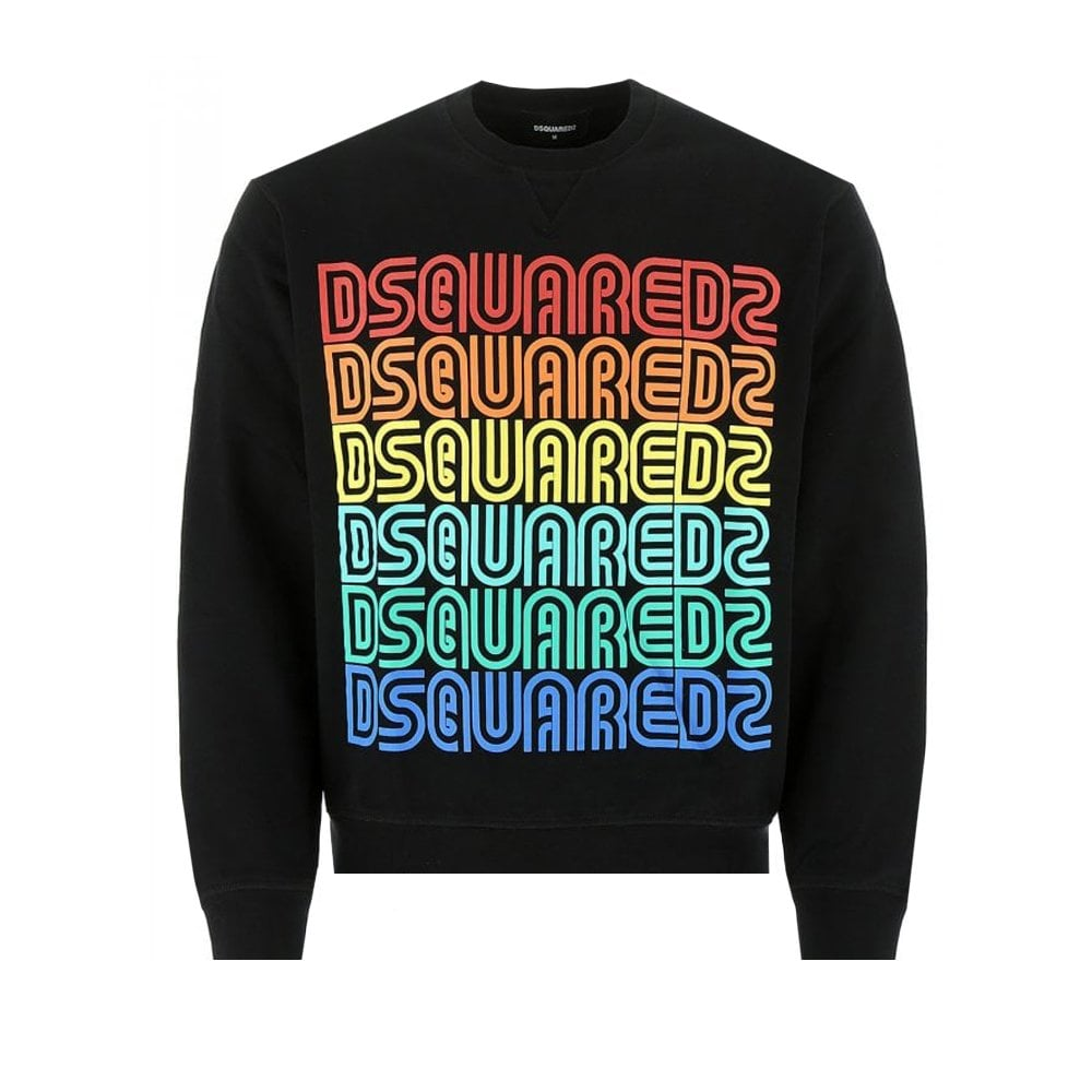 Dsquared2 Multi Color Vintage Sweatshirt Colour: BLACK, Size: EXTRA EXTRA LARGE