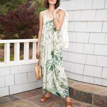Sleeveless V-Neck Tie Dye Maxi Slip Dress