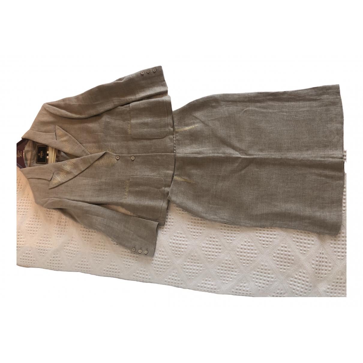 Fendi - Veste   pour femme en lin - beige