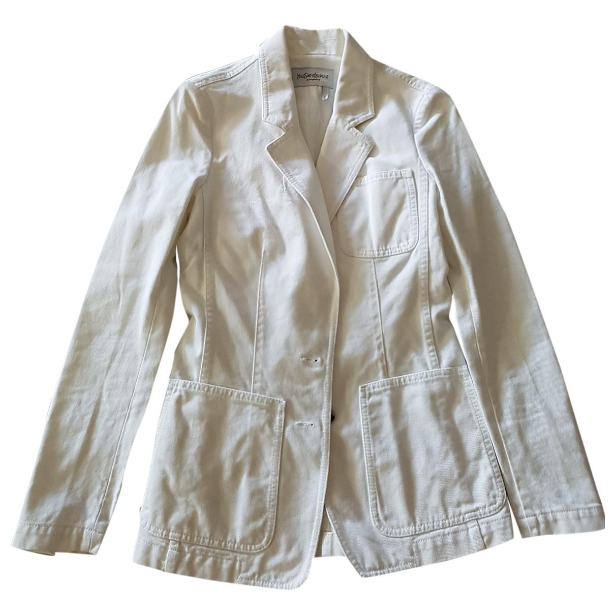 Yves Saint Laurent \N White Cotton jacket for Women 34 FR