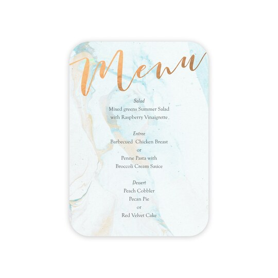 20 Pack of Gartner Studios® Personalized Mostly Marble Wedding Menu Card in Seafoam | 5