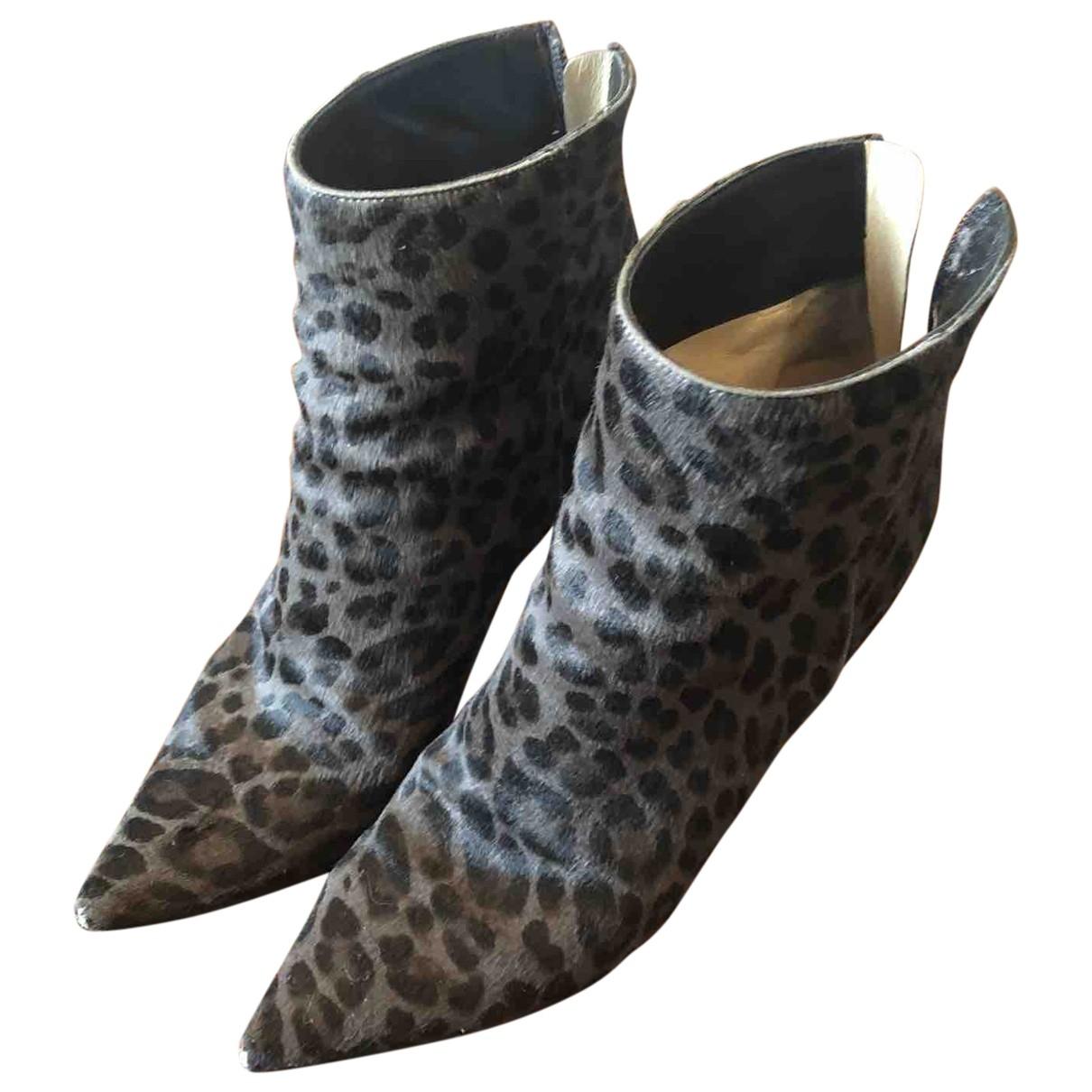 Jimmy Choo \N Grey Pony-style calfskin Ankle boots for Women 37.5 EU