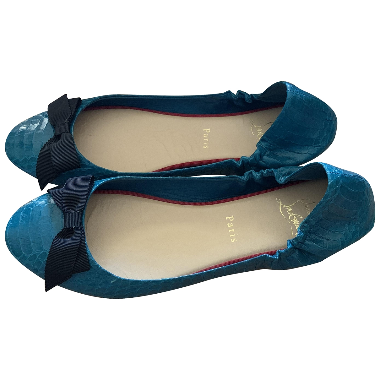 Christian Louboutin \N Blue Python Ballet flats for Women 38 EU