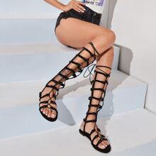 Studded Decor Lace-up Gladiator Sandals