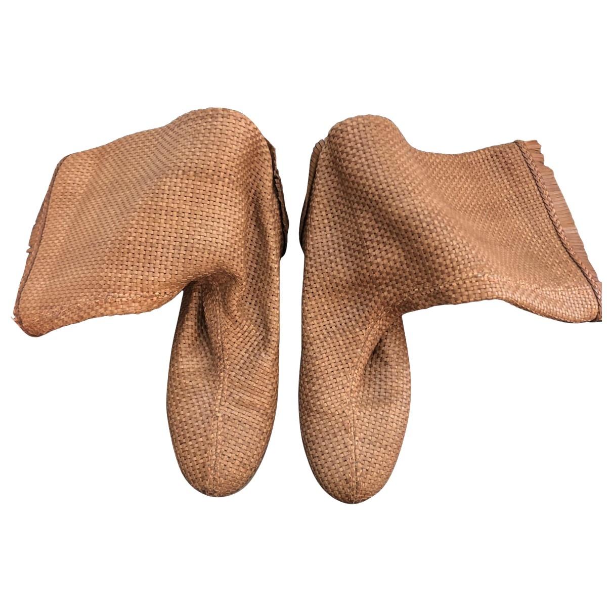 Sergio Rossi - Boots   pour femme en cuir - camel