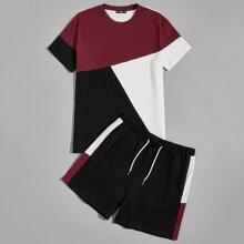 Men Colorblock Tee & Track Shorts Set